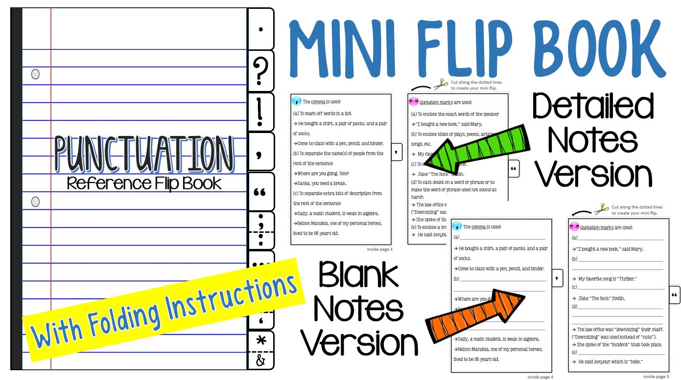 Punctuation Interactive Notebook Flip Book Mini Lesson