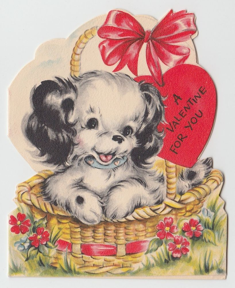 Vintage greeting card valentine puppy dog die cut basket cute vintage greeting card valentine puppy dog die cut basket cute 1950s hallmark kristyandbryce Image collections