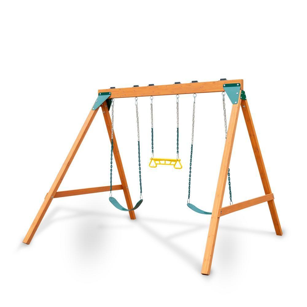 Swing N Slide Playsets Ranger Wooden Swing Set With 2 Swing Seats