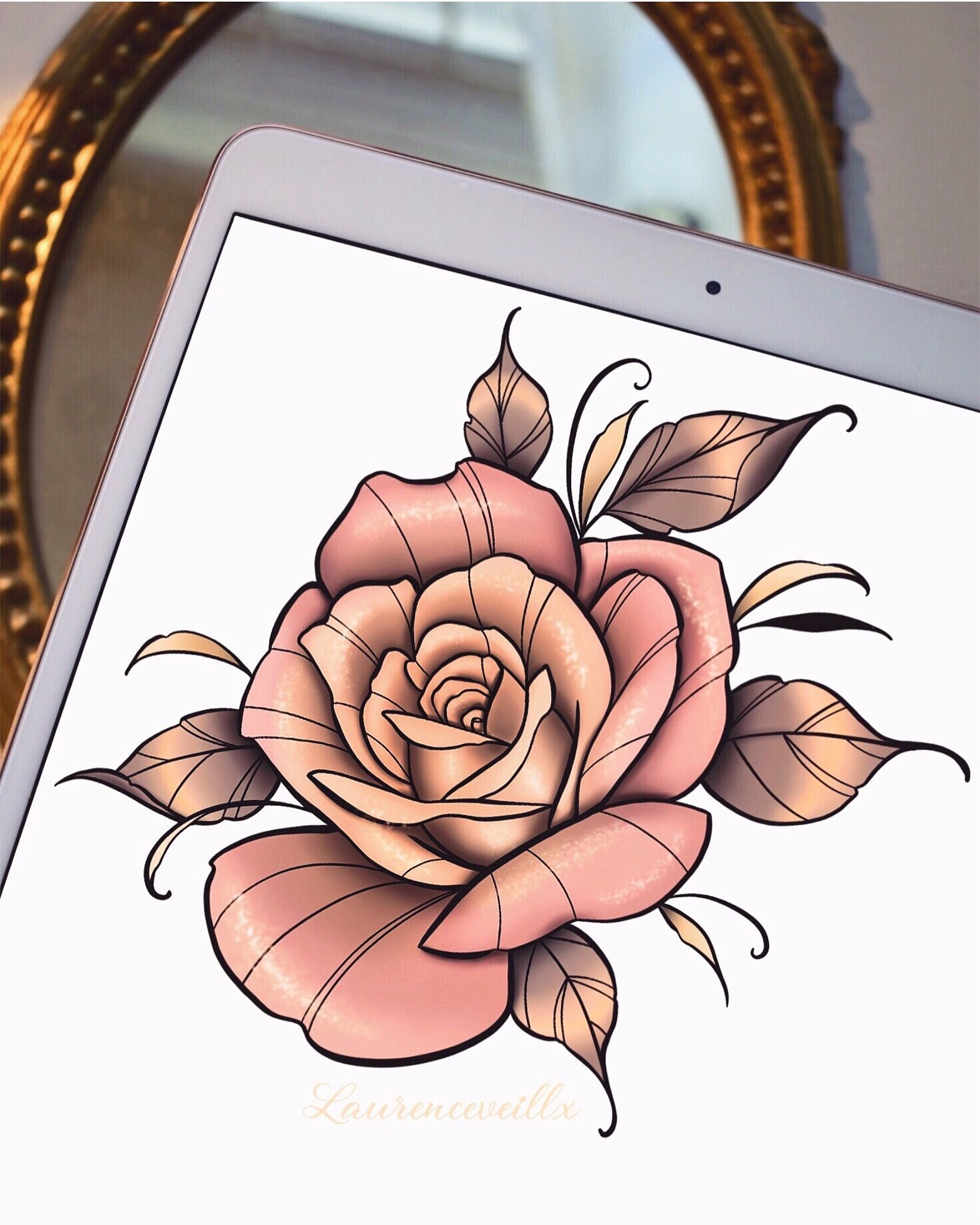 Pink Gold Rose Neotraditional Tattoo Design Ideas Traditional Rose Tattoos Traditional Tattoo Flowers Flower Tattoo Drawings