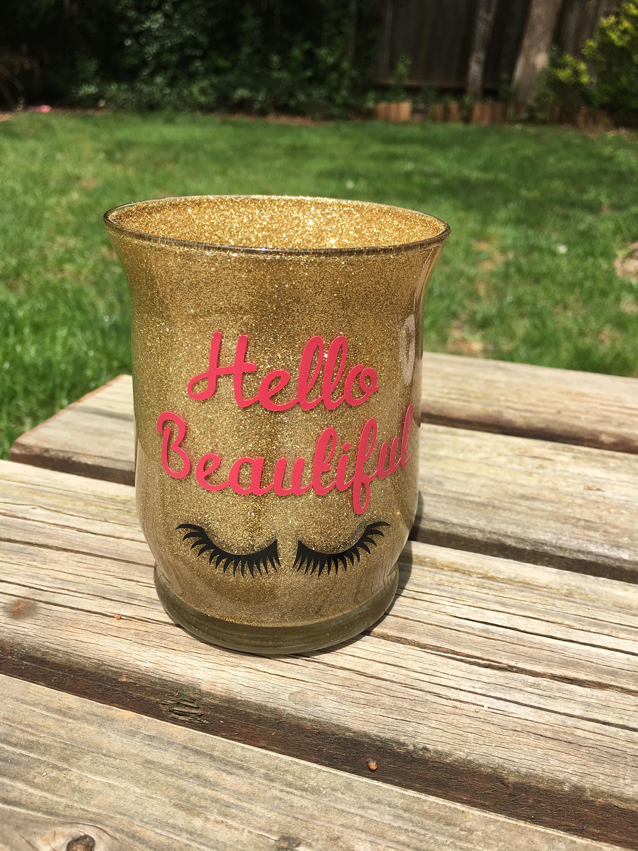 Gold Glitter makeup brush holder, Hello Beautiful, vanity