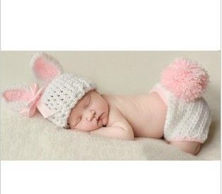 Baby Girl Boy Crochet Knit Rabbit Costume Photo Photography Prop Hats Outfits S