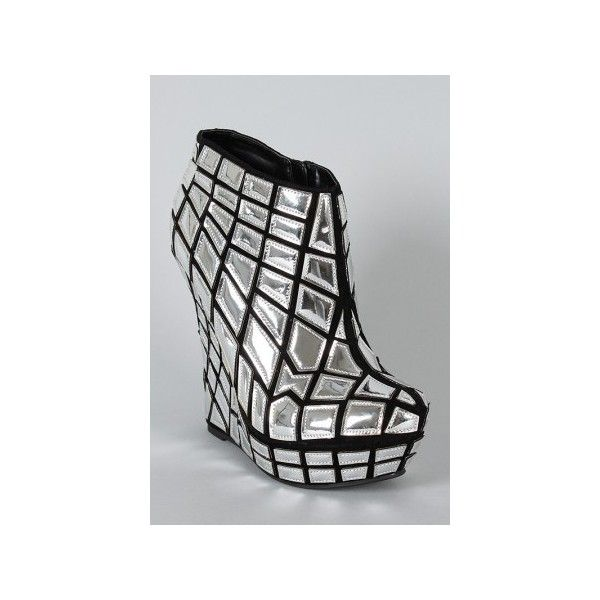 Fairest Metallic Almond Toe Wedge Bootie ❤ liked on Polyvore