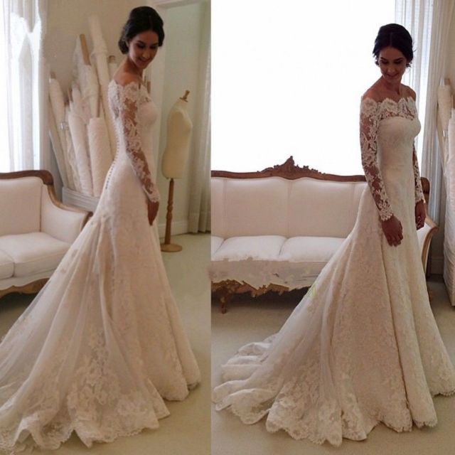 Weiß/Elfenbein Langarm Spitze Asymmetrisch Hochzeitskleid ...
