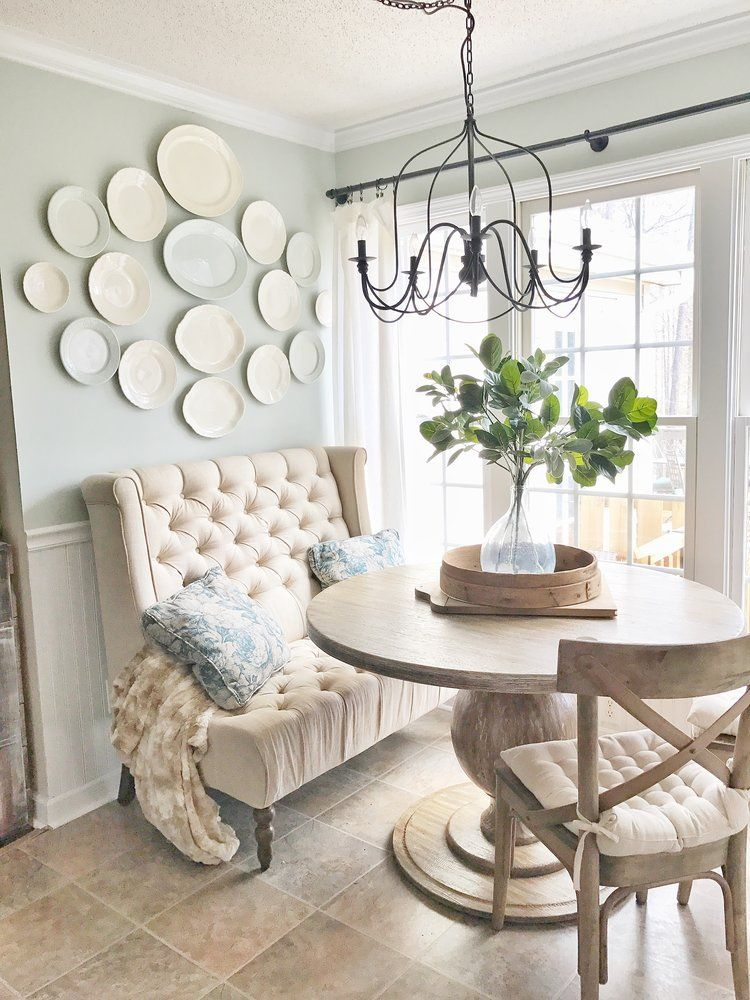 """Breakfast Nook Update: I added """"french"""" linen curtains."""