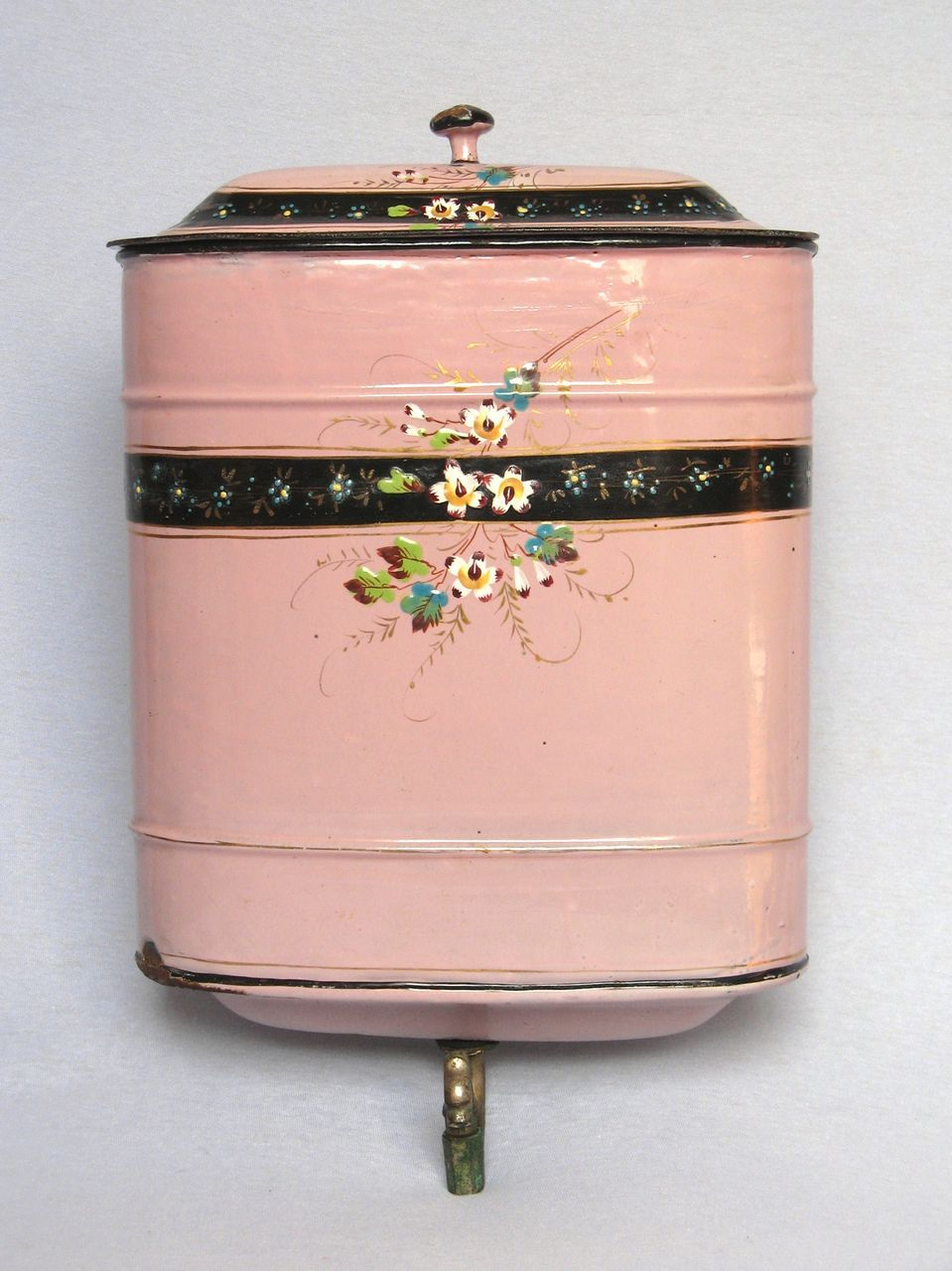 Pink French Enamelware Lavabo Fountain - Floral decor - Late 1800s from yesterdaysfrance on Ruby Lane