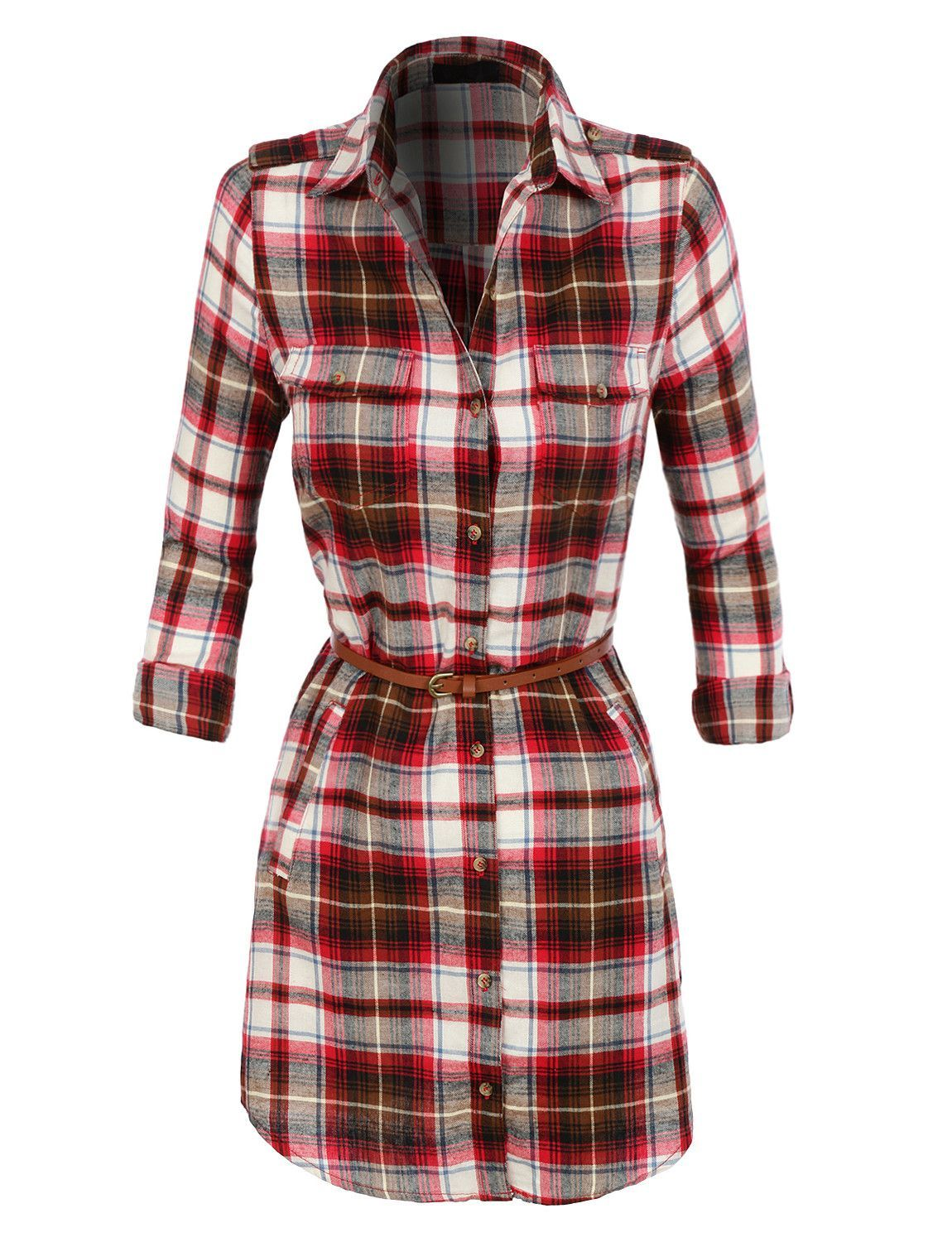 Flannel dress womens  LENO Womens Lightweight Flannel Plaid Dress with Faux Leather Belt