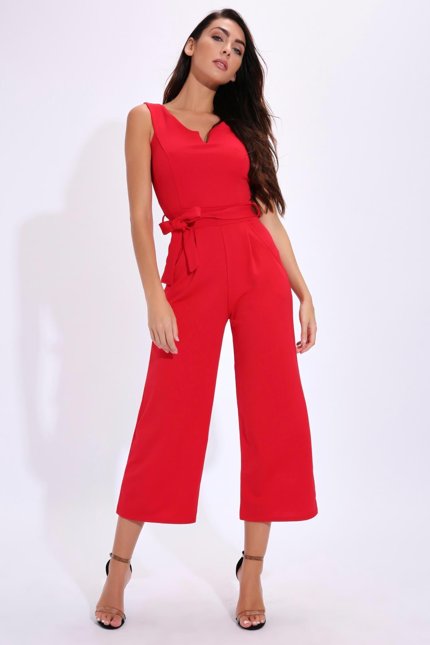 ac250166239b Red Tie Waist Belt Jumpsuit