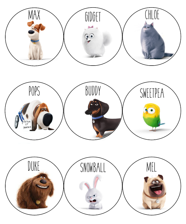 The Secret Life Of Pets Printable Applesauce Cup Toppers Secret Life Of Pets Pets Movie Dog Party