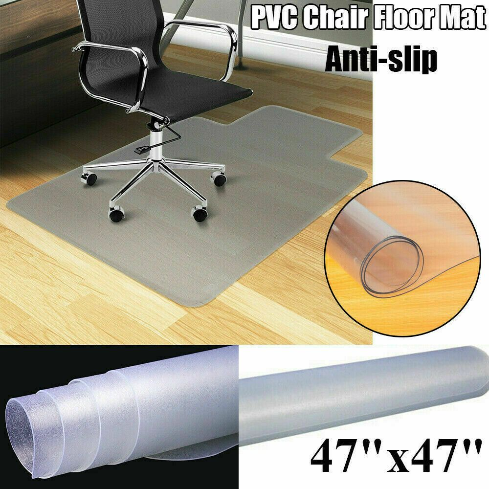Non Slip Office Chair Desk Mat Floor Carpet Protector PVC Plastic Transparent