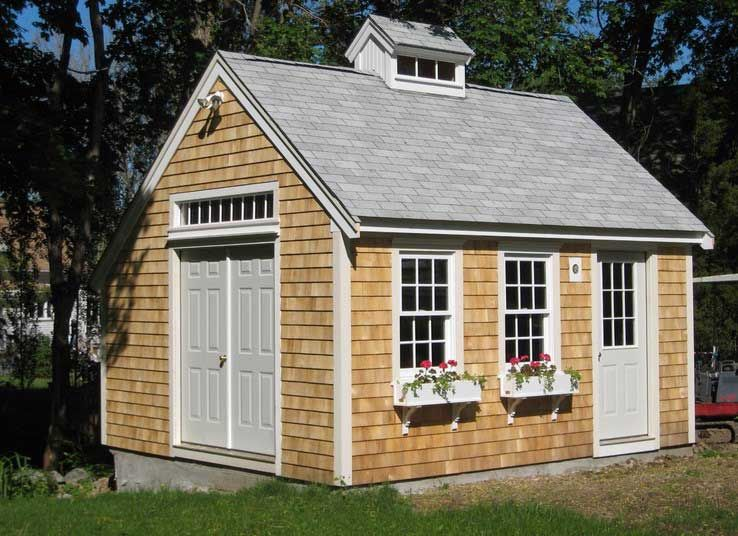 Designing Backyard Sheds Home Depot Ideas With Wooden Plank Sidding, Double  Window, Single And