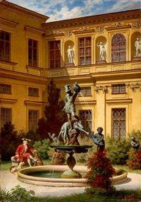 Eleganter Herr mit Jagdhunden vor dem Perseusbrunnen, Grottenhof in der Residenz in München by August Spiess