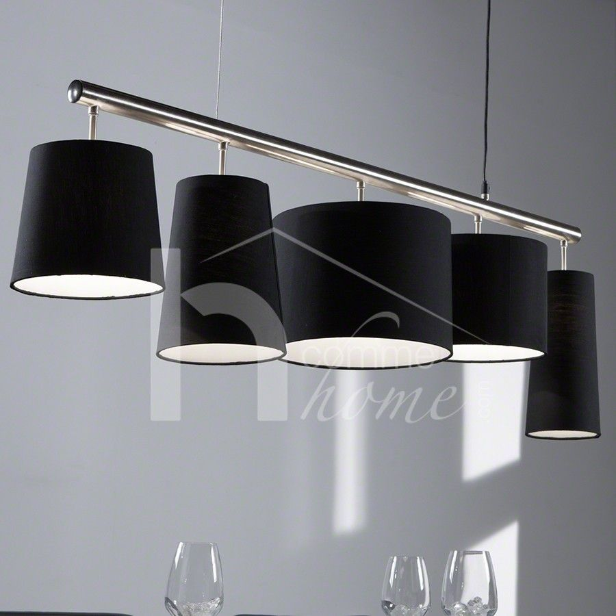 150 luminaire suspension contemporain en nickel chrom for Luminaire noir suspension