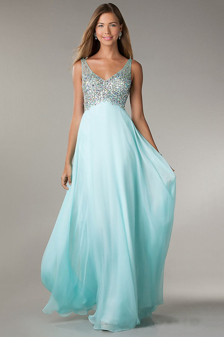 v neck low back chiffon prom dress a line with long shirred