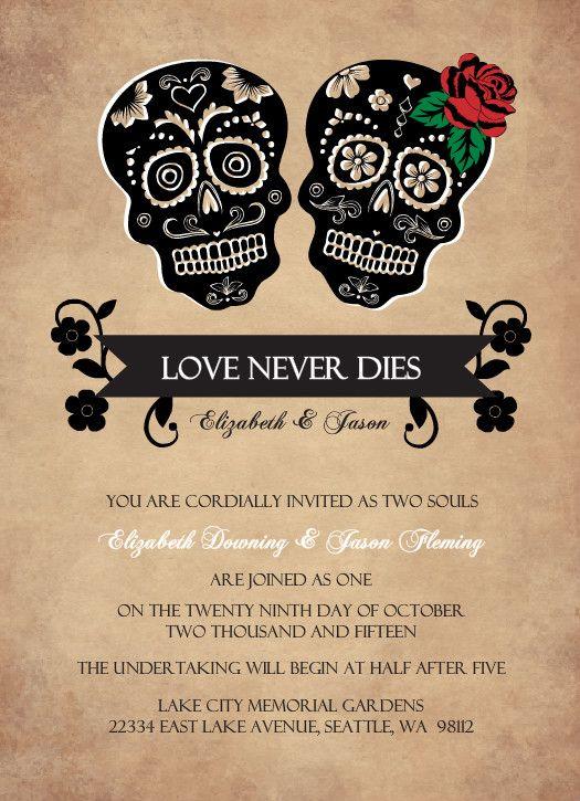 Day Of The Dead Skulls Halloween Wedding Invitation Halloween Weddin Diy Halloween Wedding Invitations Halloween Themed Wedding Halloween Wedding Invitations