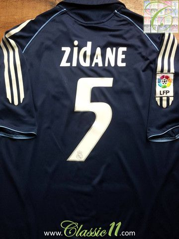 3a3e6afa55c Relive Zinedine Zidane's 2005/2006 La Liga season with this vintage Adidas Real  Madrid away football shirt.