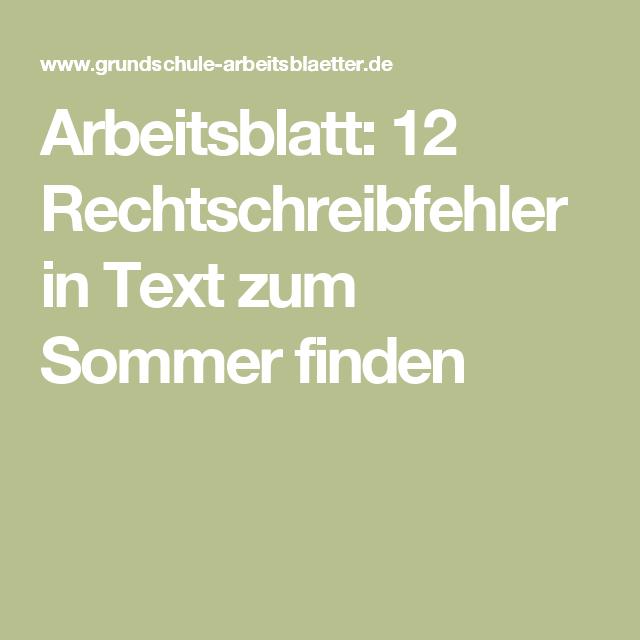 Arbeitsblatt: 12 Rechtschreibfehler in Text zum Sommer finden ...