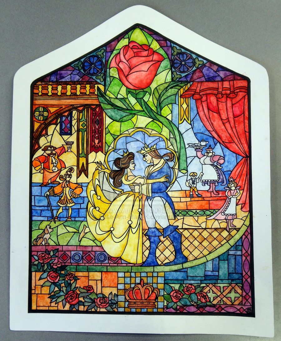 Image detail for beauty and the beast stained glass by for Beauty project ideas