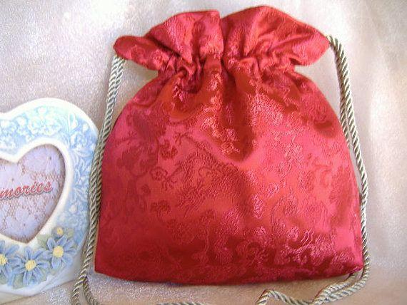 WEDDING BRIDAL RED Drawstring Bag Keepsake Bag ♥ by globodesigns, $30.99