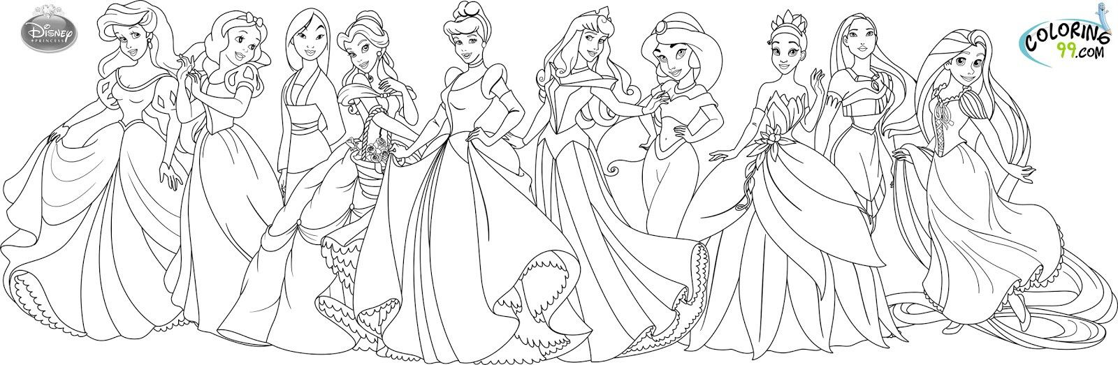 Disney Princess Coloring Sheets Online Display