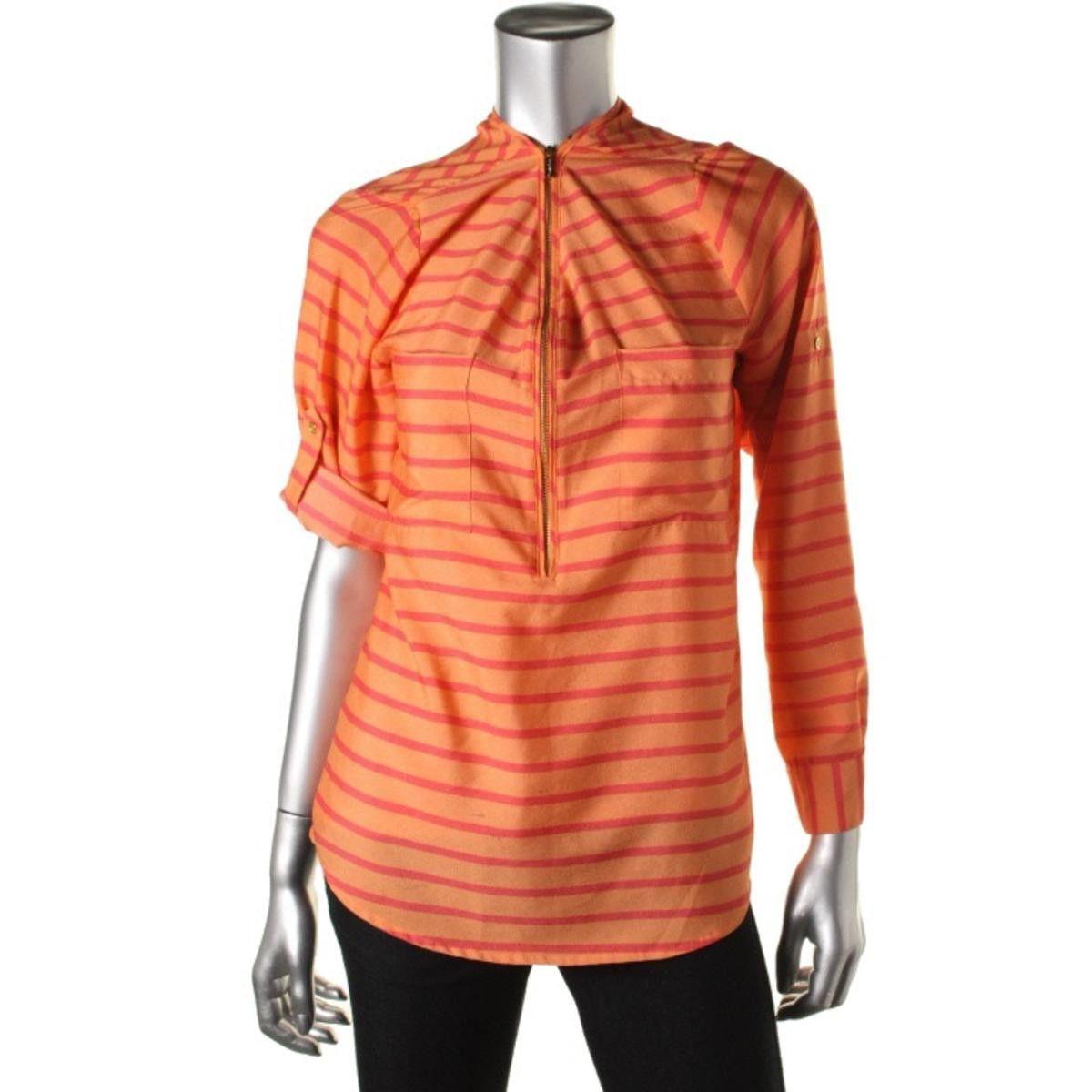Calvin Klein Womens 1/2 Zip Striped Casual Top
