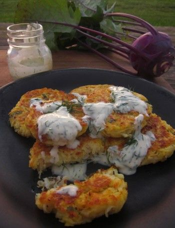 Kohlrabi fritters with yogurt dipping sauce (Not really vegan but a good recipe for the Kohlrabi).