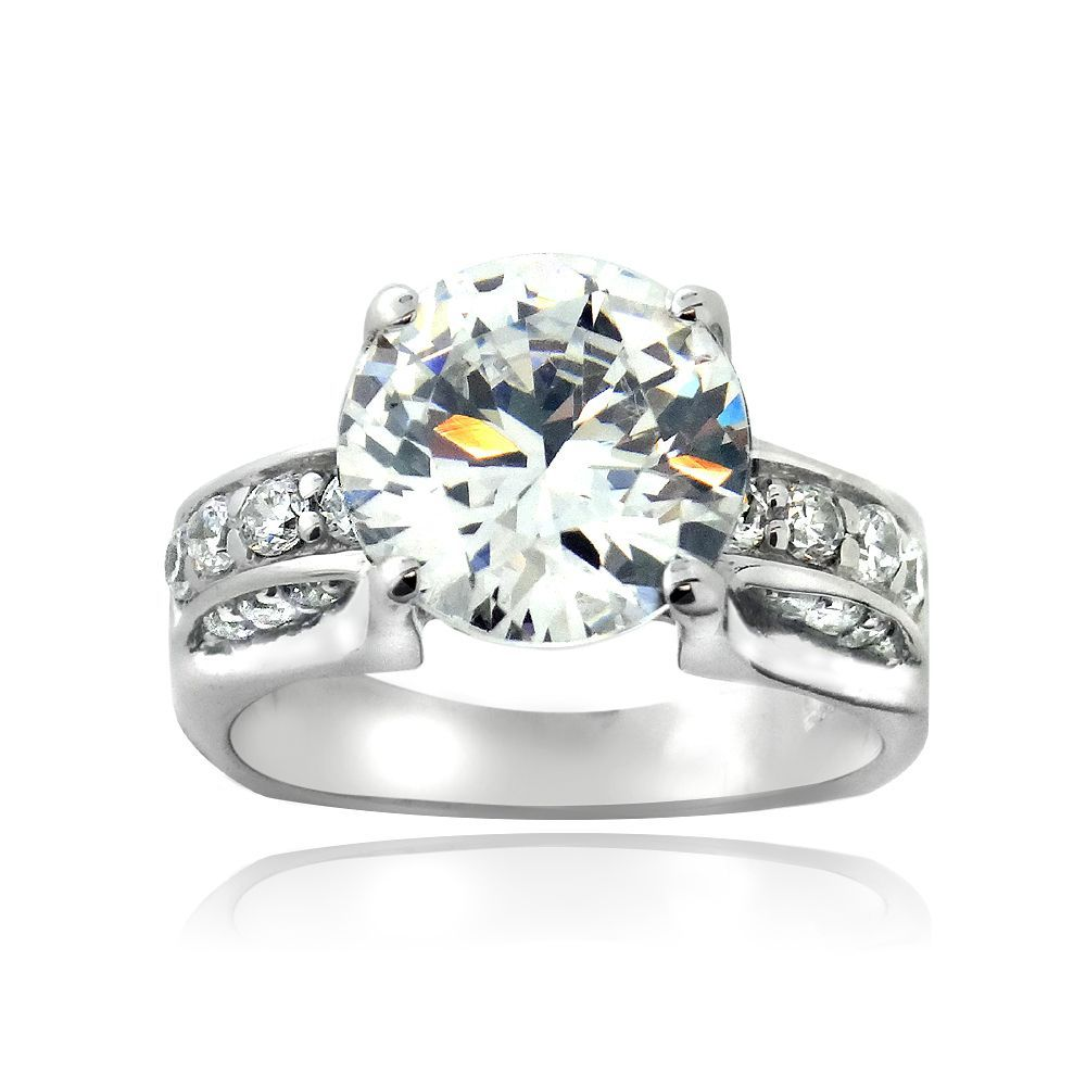 ICZ Stones Sterling Silver 7 3/5ct TGW Cubic Zirconia Bridal Engagement Ring (Size 8), Women's, White