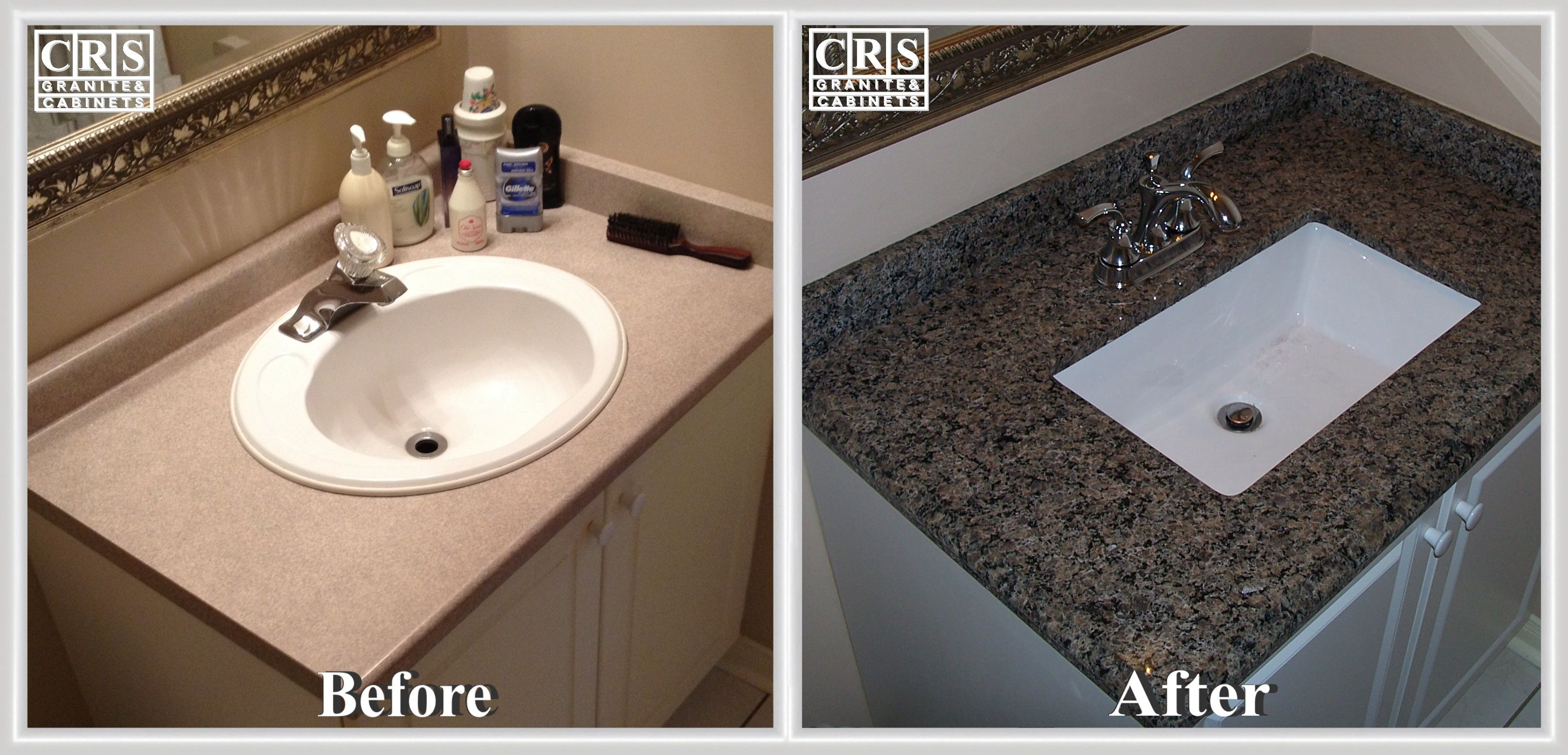 Here We See A Simple Project Producing Major Improvement This Is A Bathroom Sink And Countertop Installation How To Install Countertops Caledonia Granite Sink