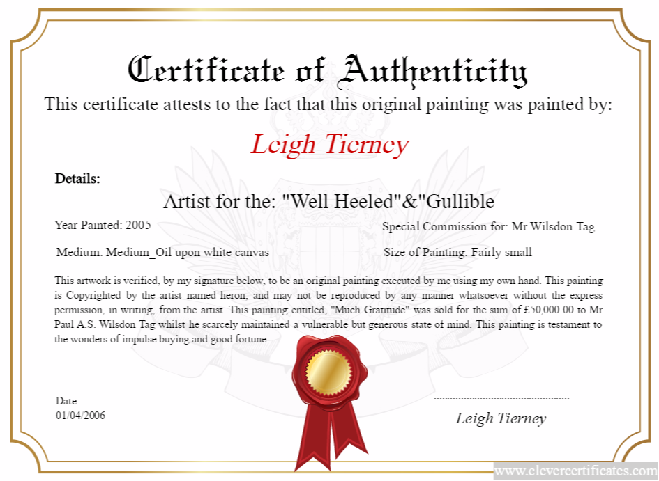 Artist maker design download and print your free for Certificates of authenticity templates