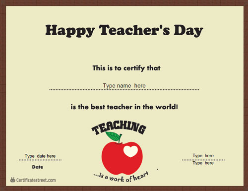 Education Certificates Teacher S Day Kid S Theme Certificatestreet Com In 2020 Teachers Day Happy Teachers Day Education Certificate