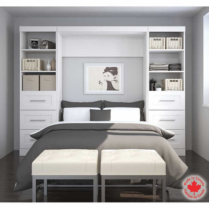 bestar boutique white double wall bed 3 pc set bed on wall beds id=58376
