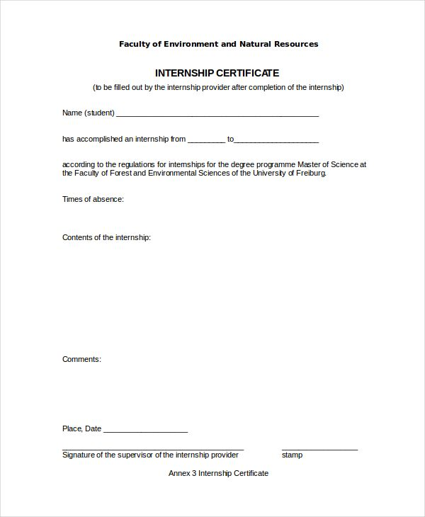 Internship certificate format 10 free printable word pdf sample certificate of completion template internship certificate template free word pdf document yadclub Image collections
