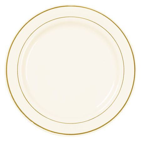 10101 10.25 Inch Elegant Disposable Ivory Plastic Dinner Plates W Shiny  Gold Rim
