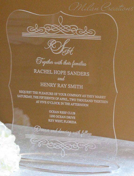 10x12 Acrylic Wedding Invitation Keepsake By MilanCreations 4000