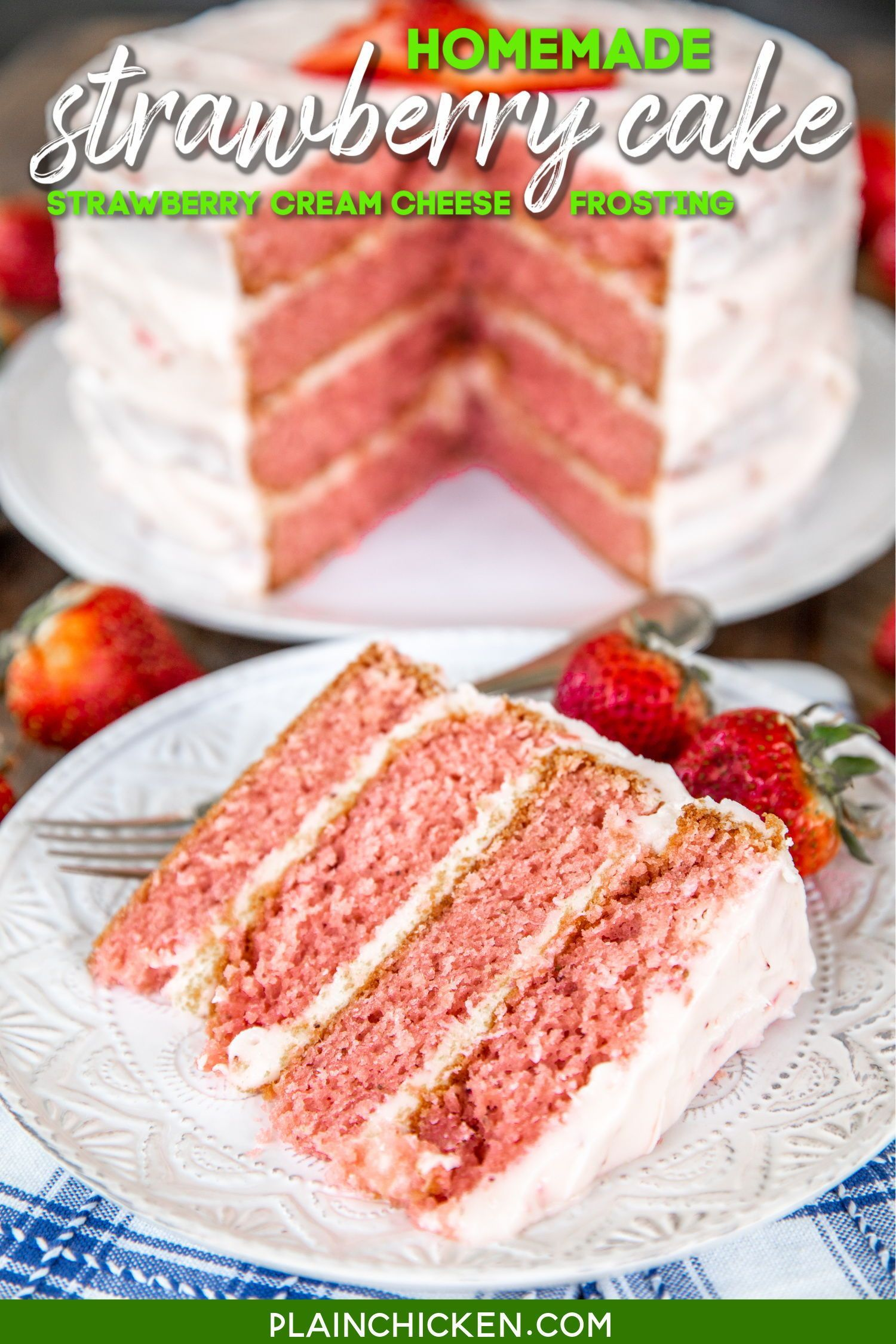 Strawberry Layer Cake In 2020 Strawberry Layer Cakes Sour Cream Cake Strawberry Cake Recipes