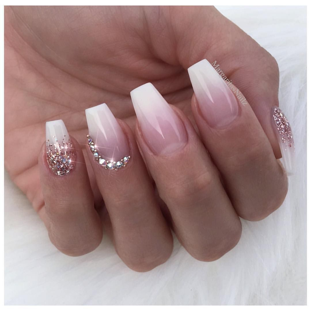 Wedding nail art design White Ombré nails Coffin shape glitter fade ...