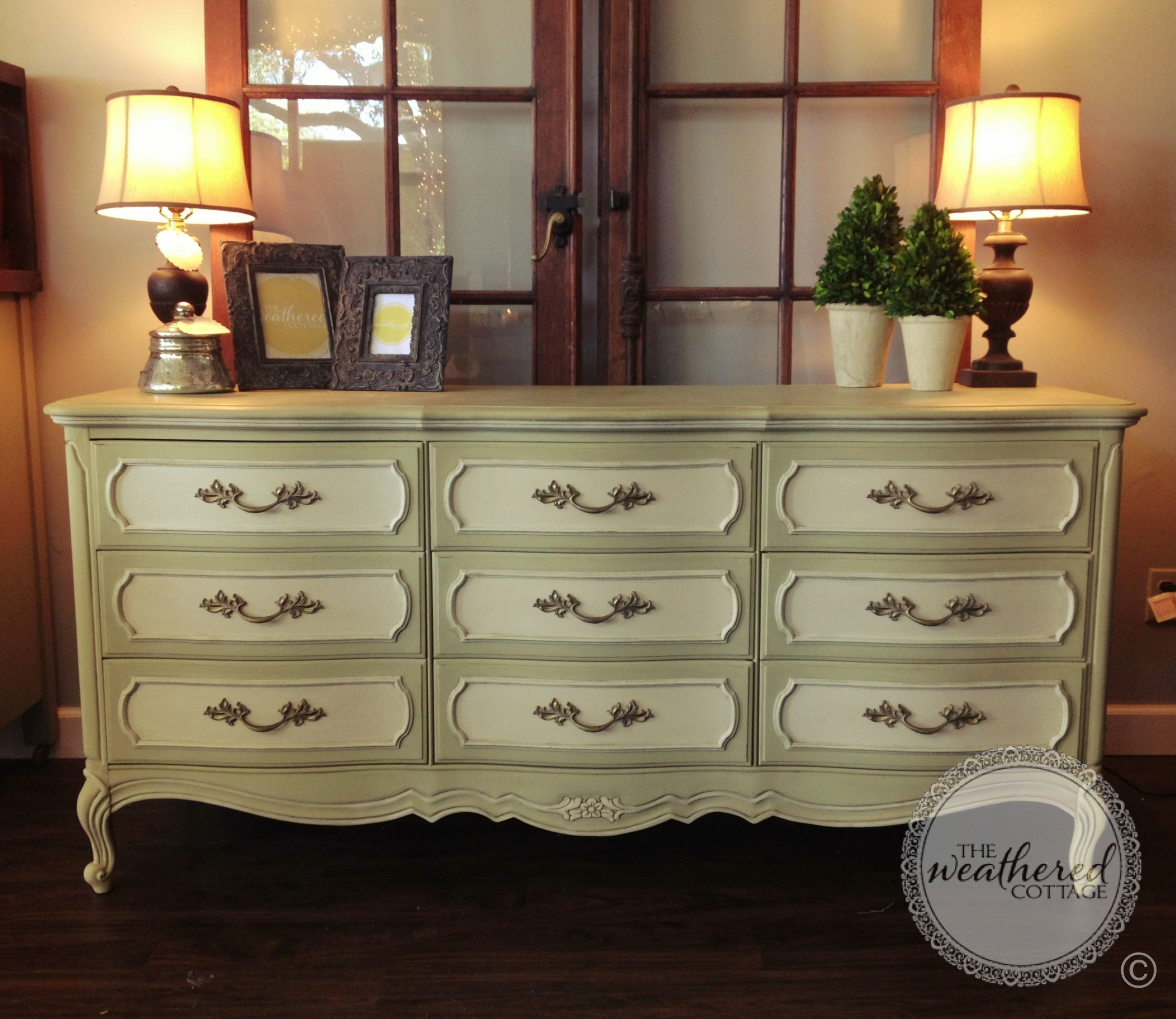 Vintage Dresser painted in Versailles and Old White Chalk Paint
