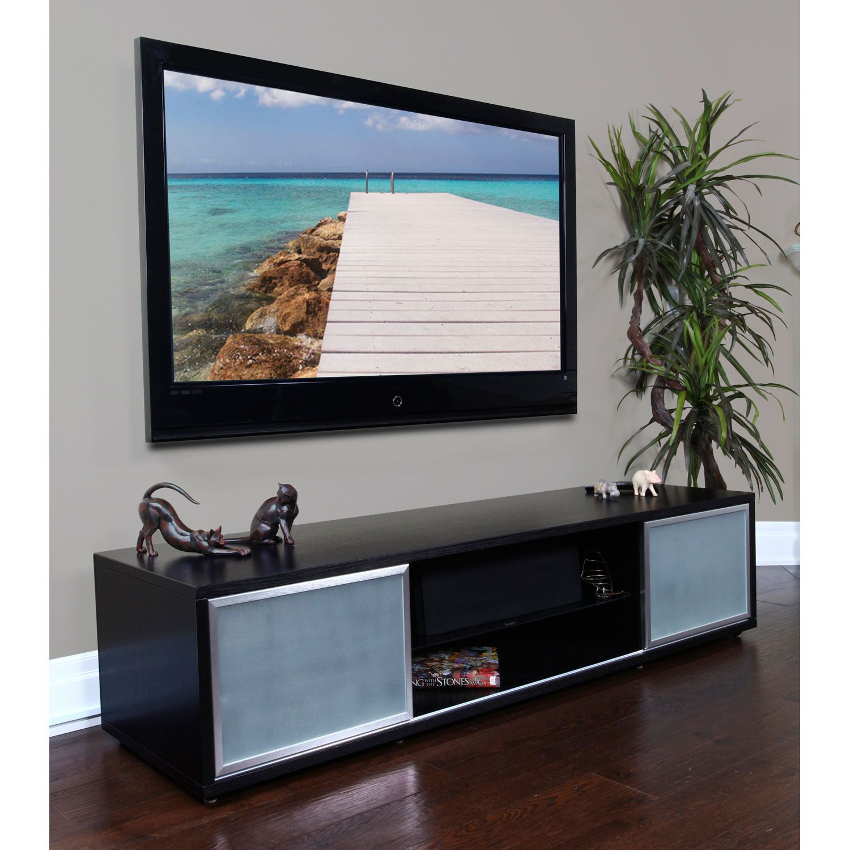Sr 75 Inch Black Oak Tv Stand Silver Frame Door Plateau Cabinets Stands