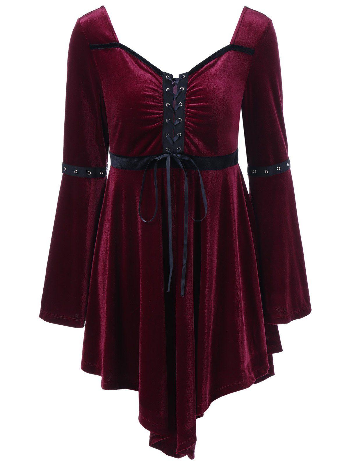 Plus Size Asymmetrical Velvet Vintage Dress Vintage Dresses