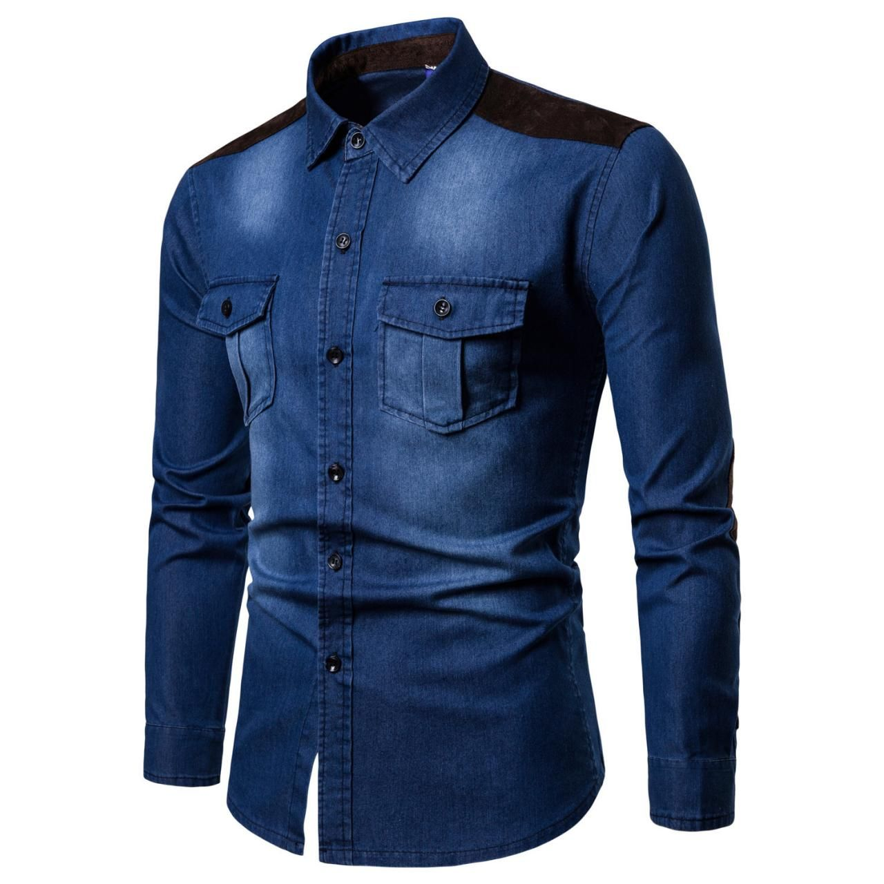 New Fashion Men Shirt Long Sleeve Denim High Quality