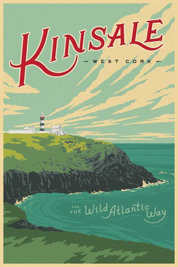 Wild Atlantic Way Kinsale Ireland Vintage Style Travel Poster Vintage Travel Posters Travel Posters Vintage Travel