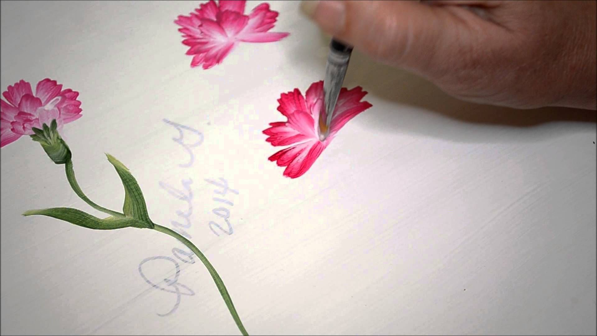 Learn How To Paint Carnations 2 Learn To Paint Flower Painting Canvas Flower Painting
