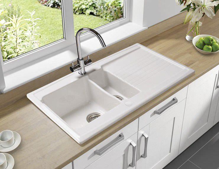 2-bowl kitchen sink   ceramic   with drainboard - EQUINOX 15B - spüle für küche