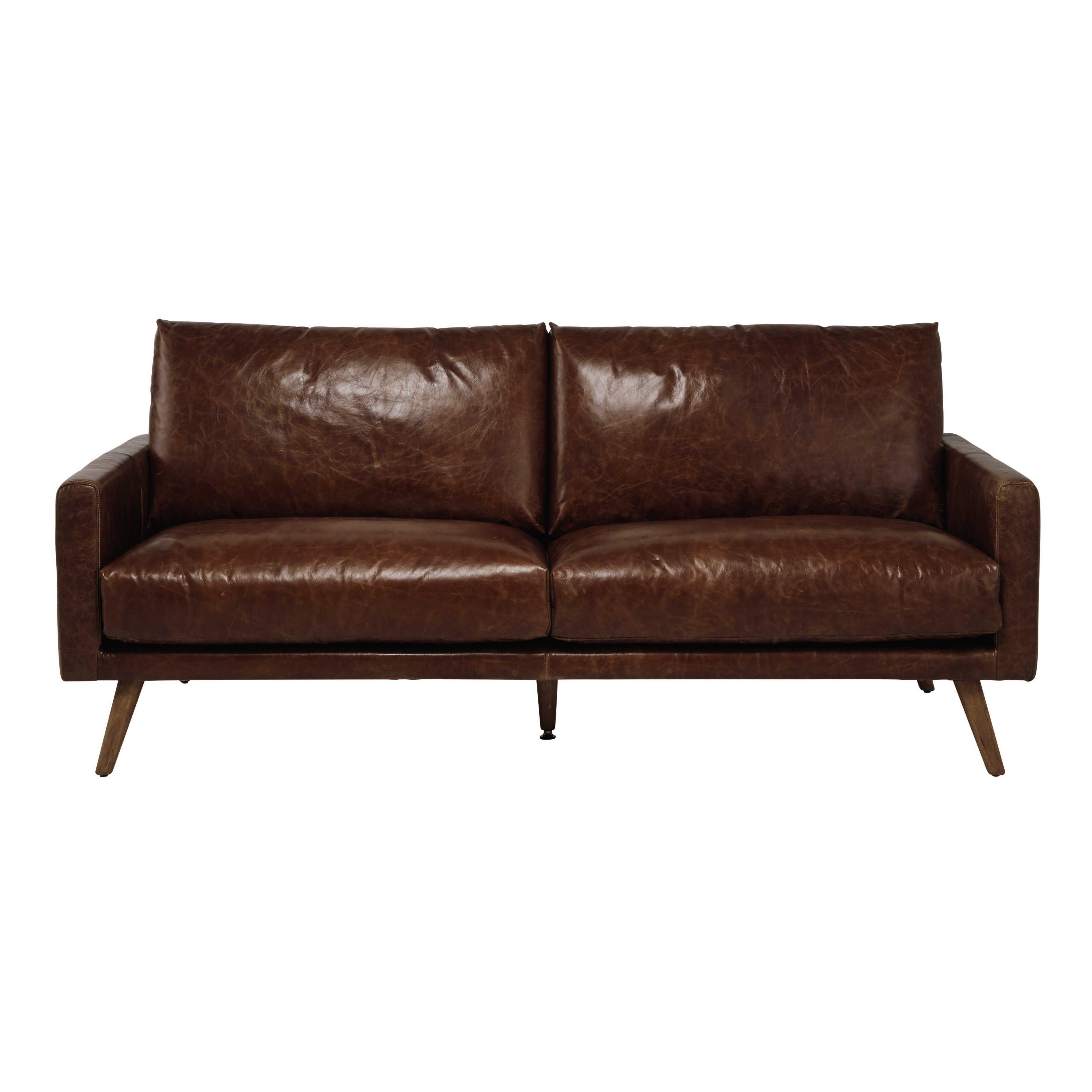 Canapé 3 places en cuir marron cognac