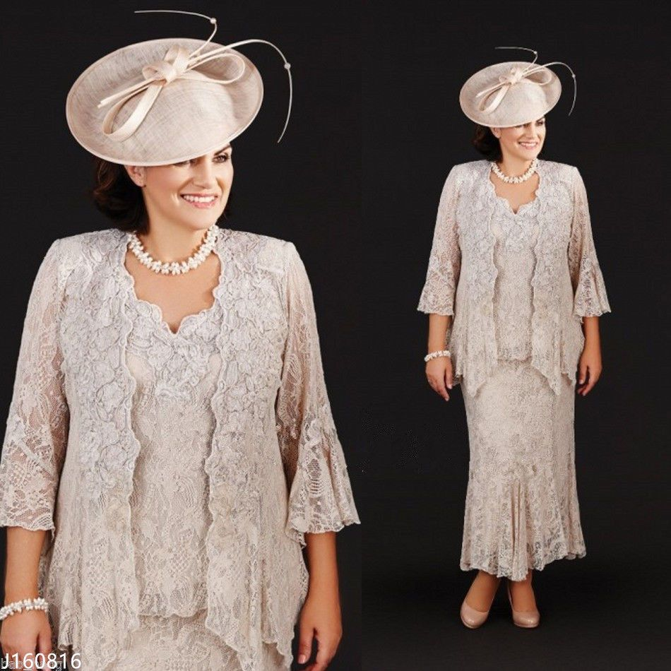 Lace long mother of the bridal dressesoutfit with jacket plus size