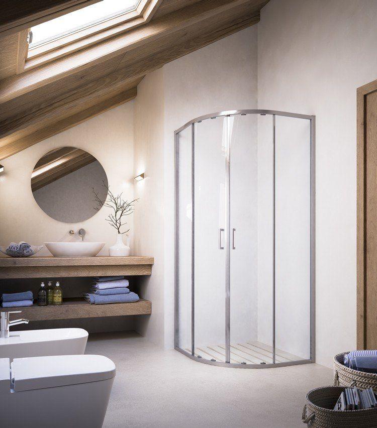 kleines bad mit dachschräge und platzsparender viertelkreis, Hause ideen