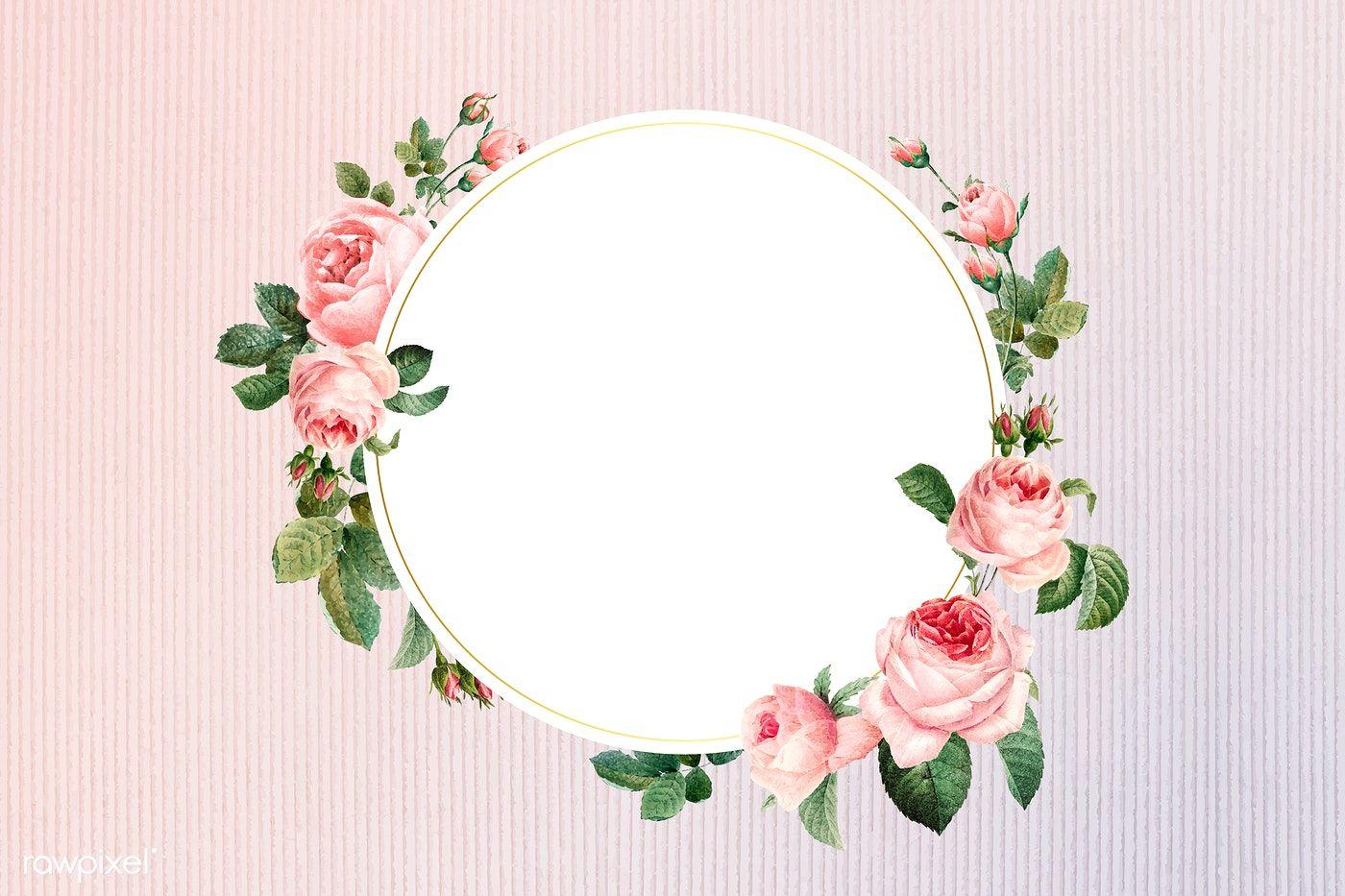 Download Premium Vector Of Floral Round Frame On A Fabric Background Floral Border Design Floral Border Floral