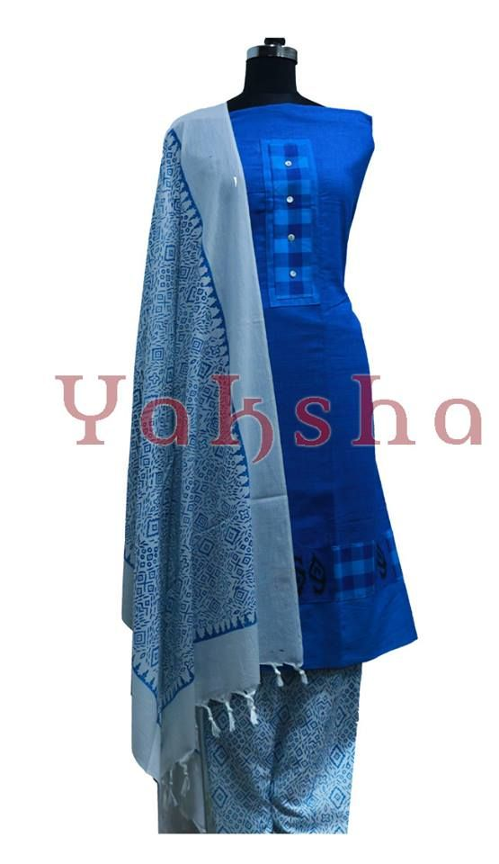 c862ae29b8 top: blue cotton material with patchwork attached with shell button & block  print bottom: white printed cotton material shawl: white cotton material  with ...