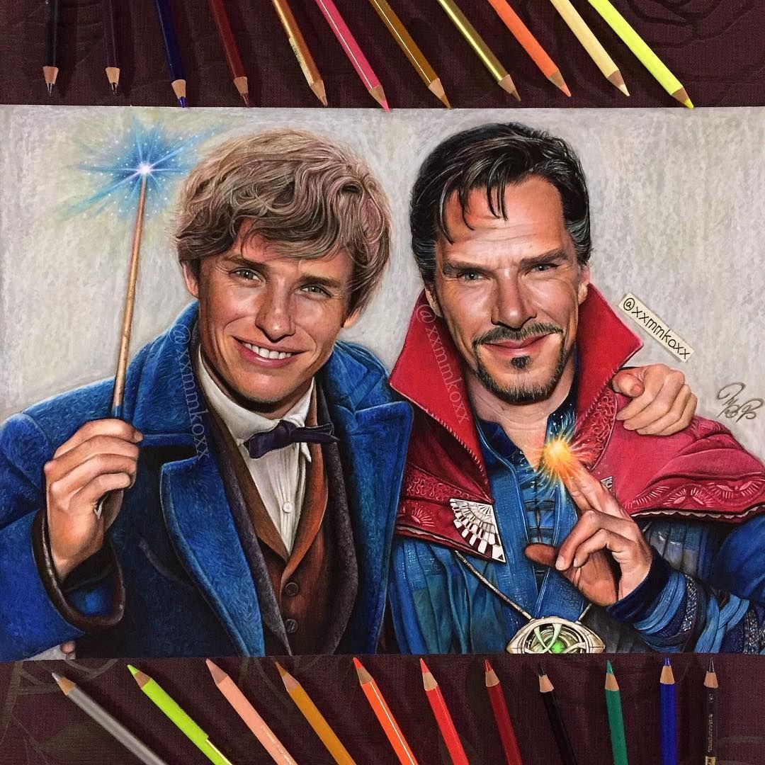 "eddie-redmayne-italian-blog: ""Colored pencil drawing of Eddie Redmayne as Newton Scamander and Benedict Cumberbatch as Doctor Strange!!! Thanks to https://www.instagram.com/xxmmkoxx/ Here's the video : https://m.youtube.com/c/MomokoF """
