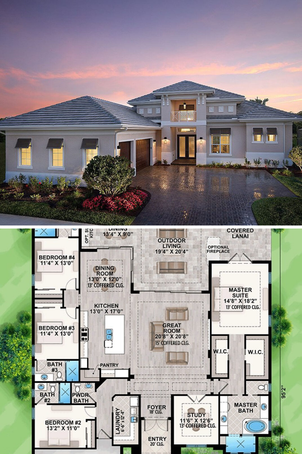 Single Story 4 Bedroom Florida Home Floor Plan
